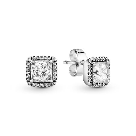 Timeless Elegance Stud Earrings, Clear CZ, Sterling silver, Cubic Zirconia - PANDORA - #290591CZ