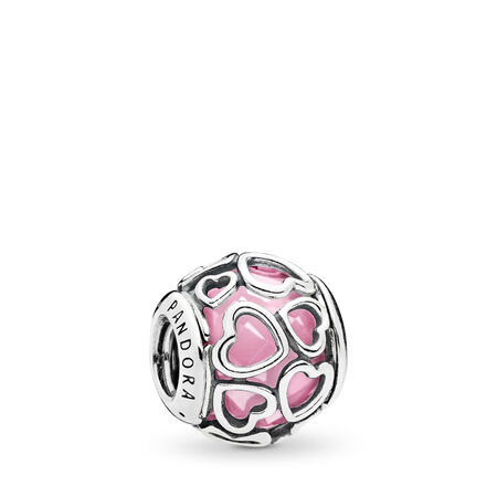 Encased in Love Charm, Pink CZ, Sterling silver, Pink, Cubic Zirconia - PANDORA - #792036PCZ