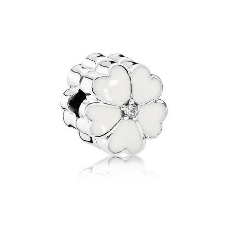 White Primrose Clip, White Enamel & Clear CZ