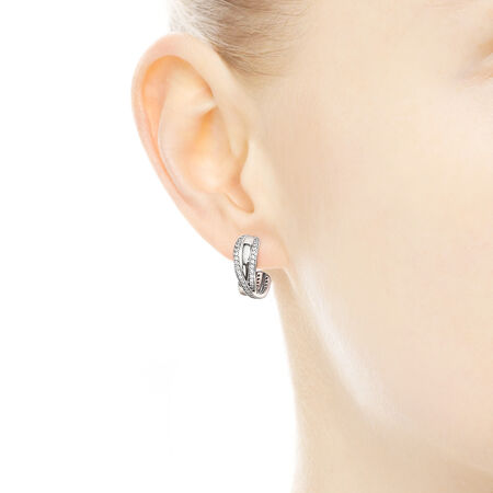 Entwined Hoop Earrings, Clear CZ