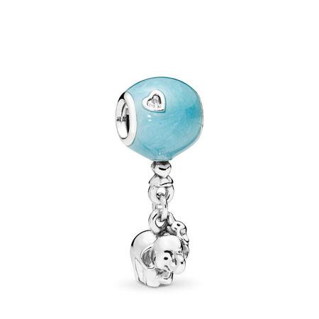 Elephant & Blue Balloon Dangle Charm, Blue Enamel & Clear CZ, Sterling silver, Enamel, Blue, Cubic Zirconia - PANDORA - #797239EN169