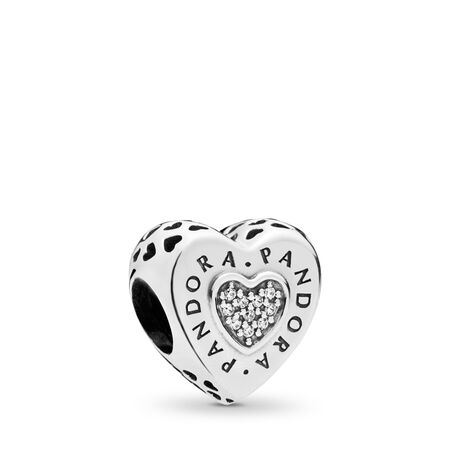 PANDORA Signature Heart Charm, Clear CZ, Sterling silver, Cubic Zirconia - PANDORA - #797375CZ