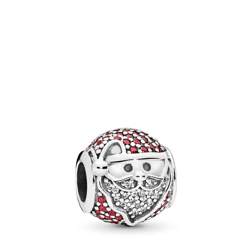 4eac8d34c Sparkling Jolly Santa Charm, Red & Clear CZ