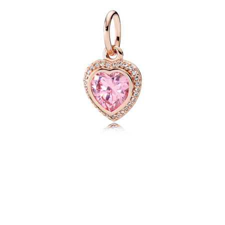 Sparkling Love Pendant, PANDORA Rose™ & Pink & Clear CZ