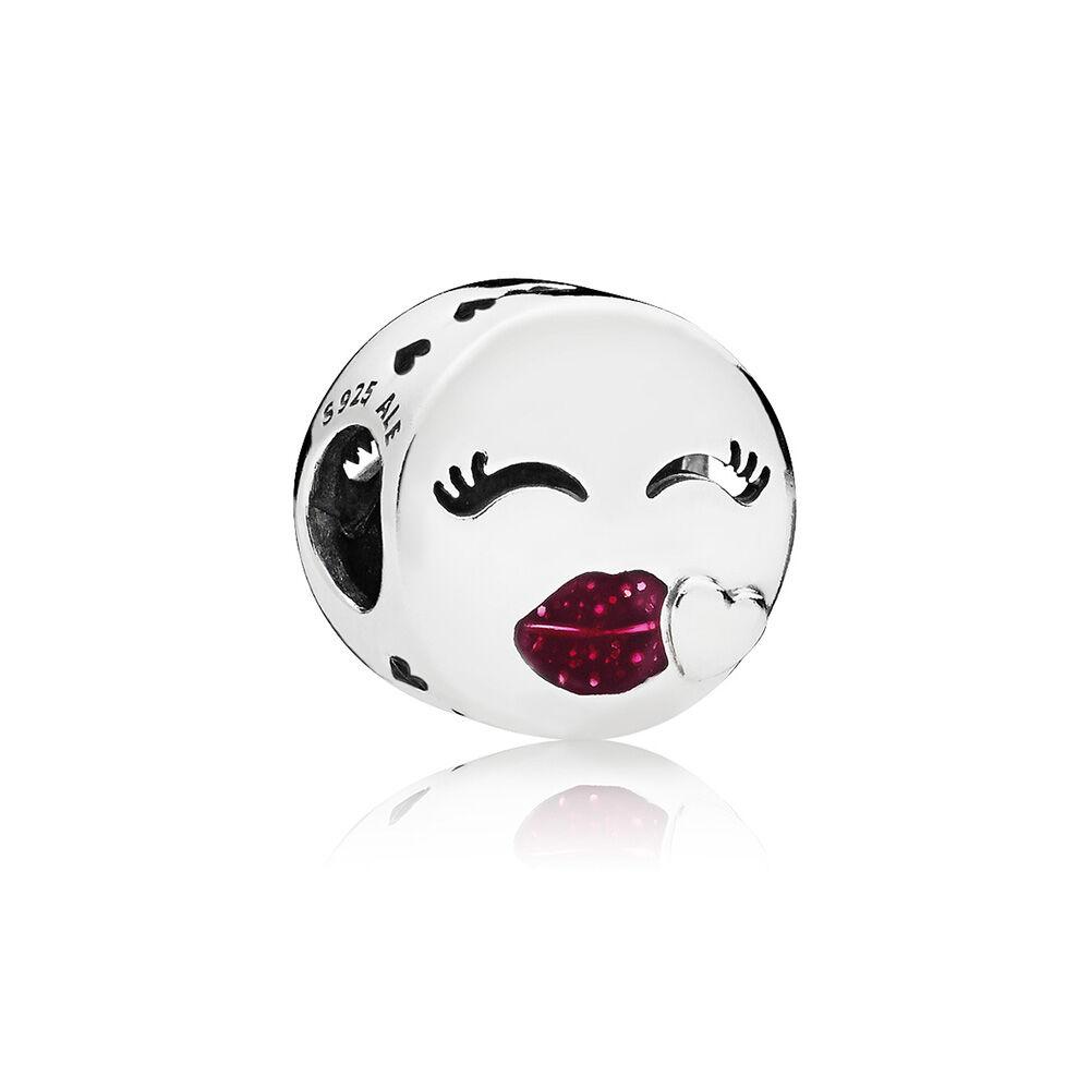 Kiss Charm, Cerise Glitter Enamel | PANDORA Jewelry US
