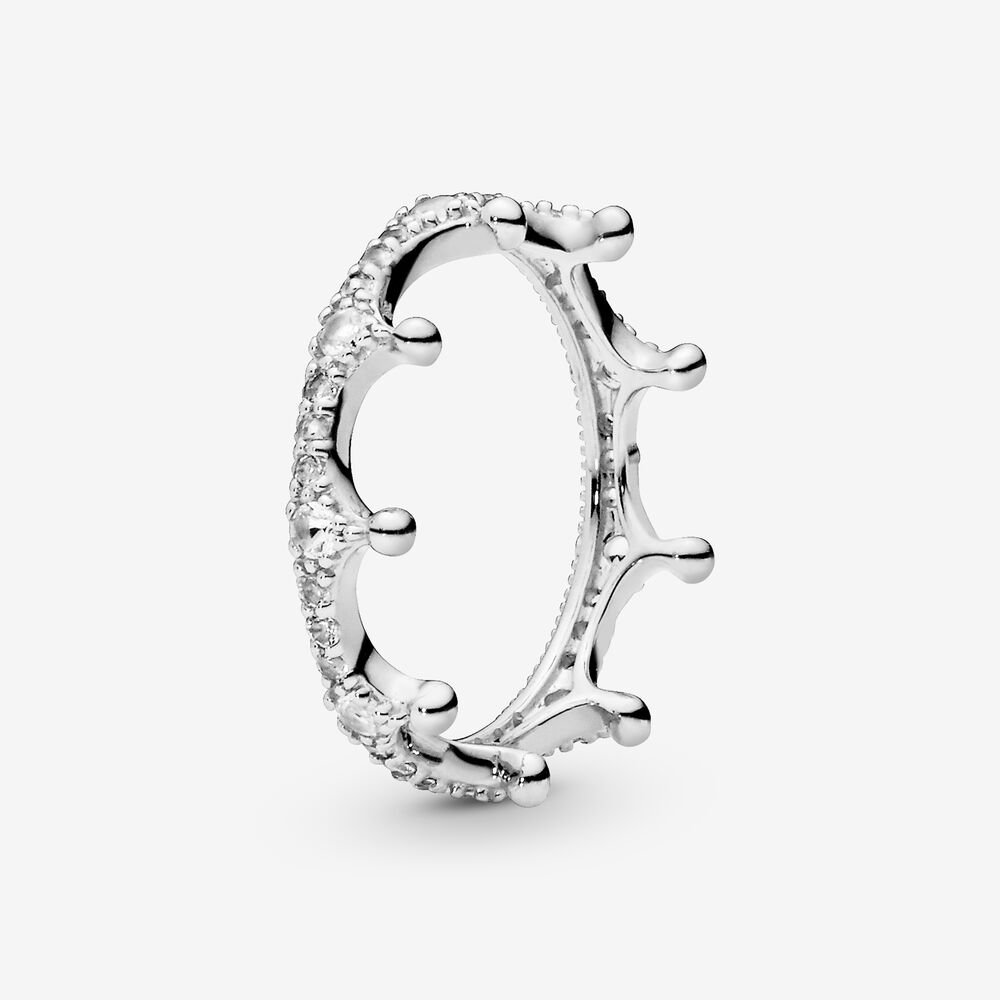 Clear Sparkling Crown Ring Silver Pandora Us