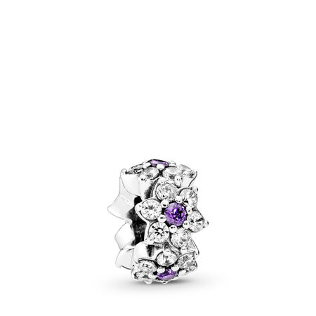 d356dc15b Forget Me Not Spacer, Purple & Clear CZ Sterling silver, Purple, Cubic  Zirconia
