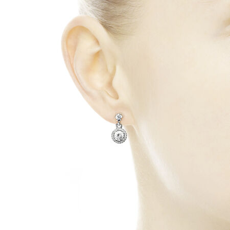 Classic Elegance Drop Earrings, Clear CZ