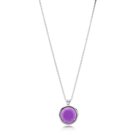 PANDORA Faceted Locket Necklace, Synthetic Amethyst, Sterling silver, Purple, Synthetic Amethyst - PANDORA - #397710SAM