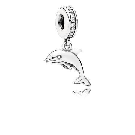 Playful Dolphin Dangle Charm, Clear CZ