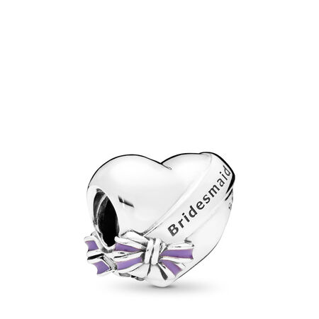 Best Bridesmaids Charm, Transparent Purple Enamel
