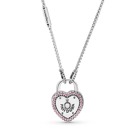 Lock Your Promise Necklace, Fancy Fuchsia Pink CZ, Sterling silver, Pink, Cubic Zirconia - PANDORA - #396583FPC