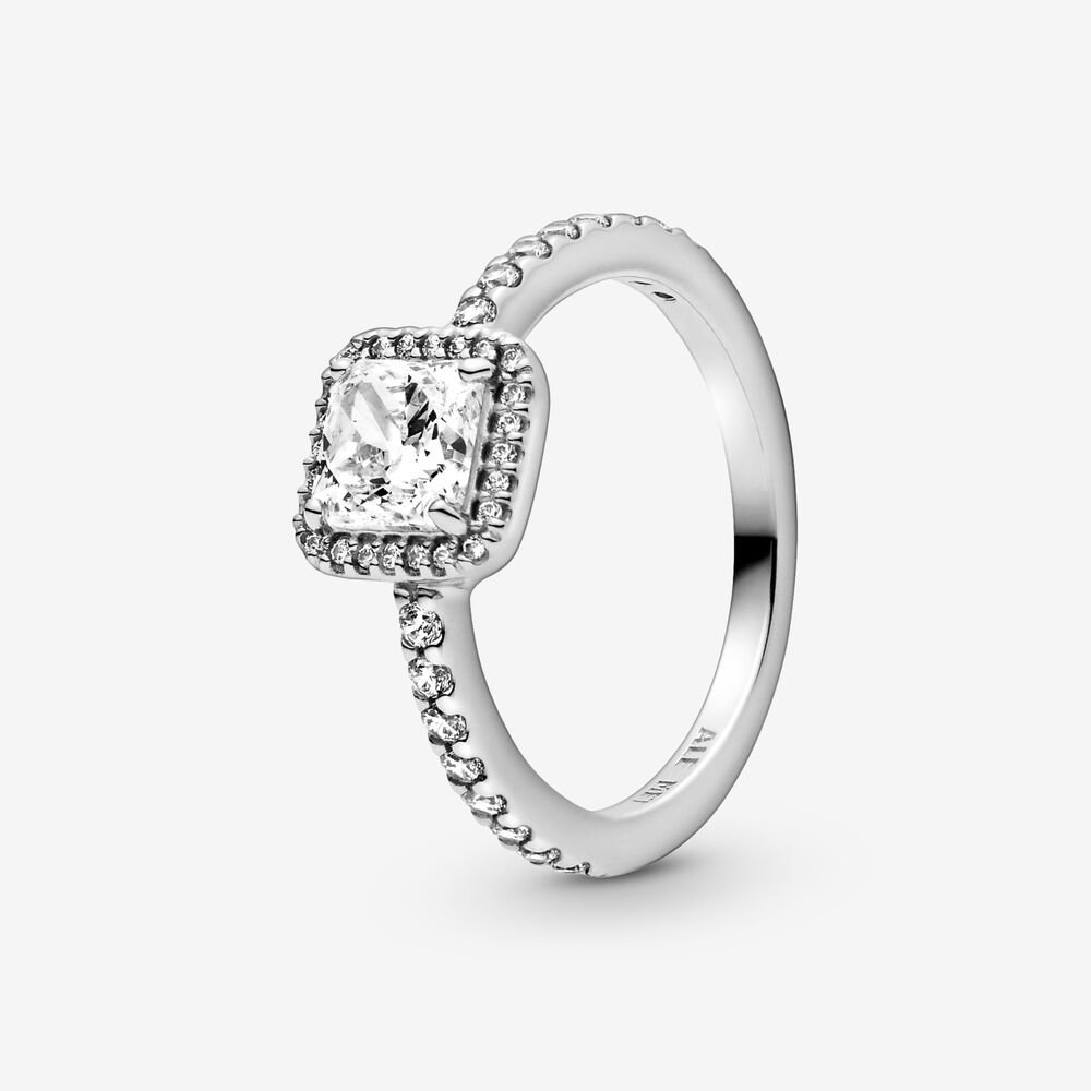 Square Sparkle Halo Ring | Sterling silver | Pandora US