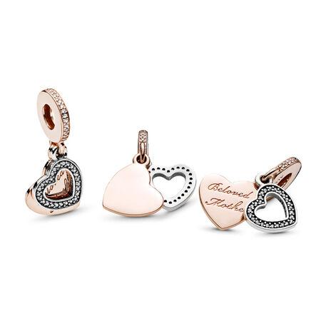 Beloved Mother Charm, PANDORA Rose™ & Clear CZ, PANDORA Rose with sterling silver, Cubic Zirconia - PANDORA - #781883CZ