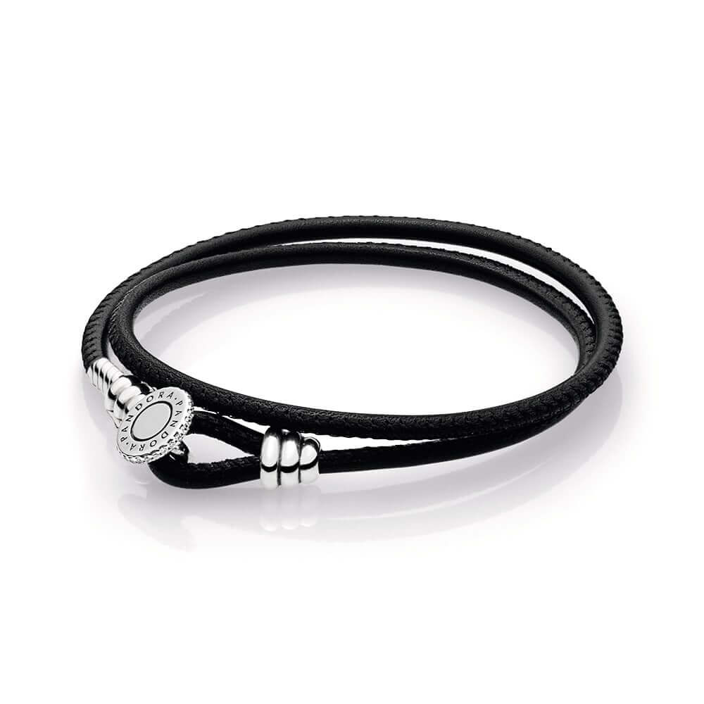 Black Double Leather Bracelet Clear Cz Pandora Jewelry Us