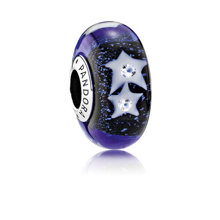 Starry Night Sky Charm, Murano Glass & Clear CZ
