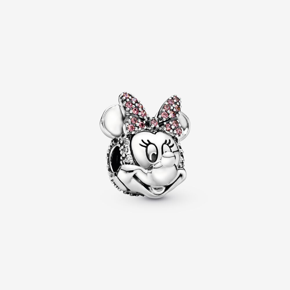 Disney Minnie Mouse Pink Pavé Bow Clip Charm   Sterling silver ...