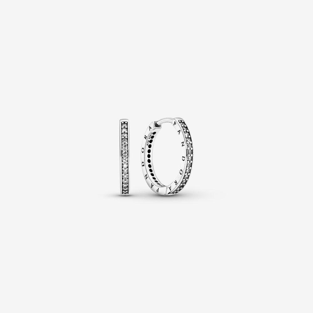Sparkle & Pandora Logo Hoop Earrings