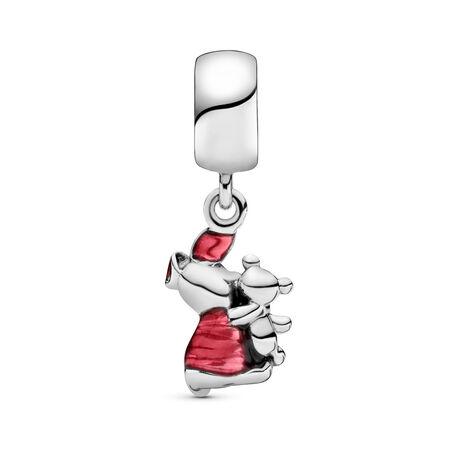 Disney, Piglet Dangle Charm, Transparent Cerise Enamel