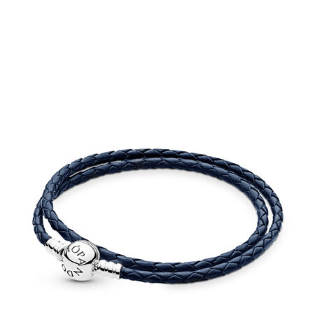 fcacd82e0 Dark Blue Braided Double-Leather Charm Bracelet Sterling silver, Leather,  Blue