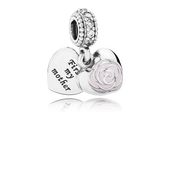 Mother's Rose Dangle Charm, Pink Enamel & Clear CZ
