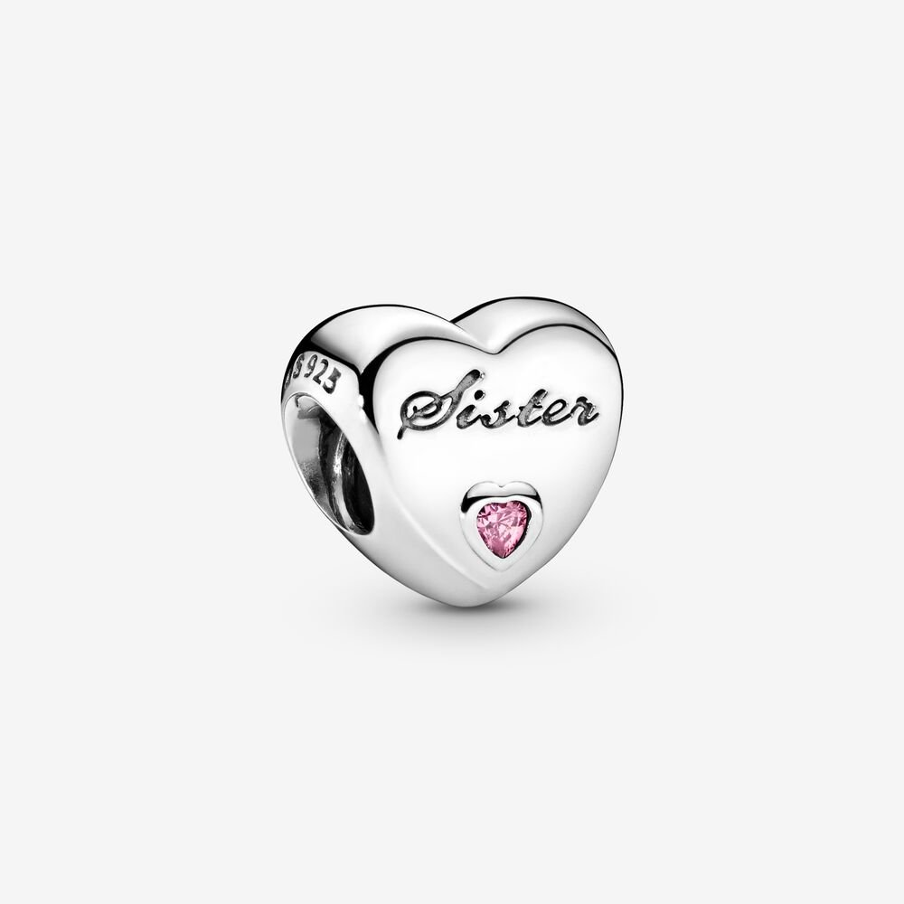 Sister's Love Charm in Sterling Silver & Pink CZ | Sterling silver ...