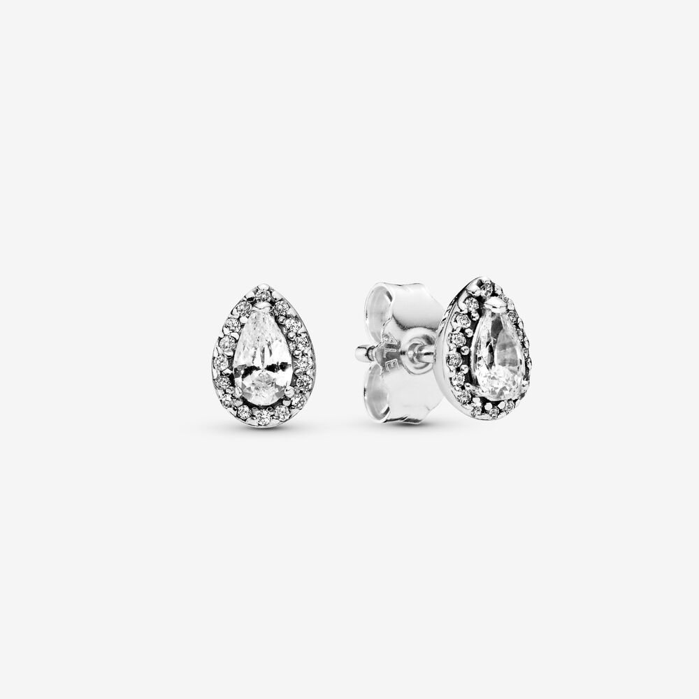 Sparkling Teardrop Halo Stud Earrings