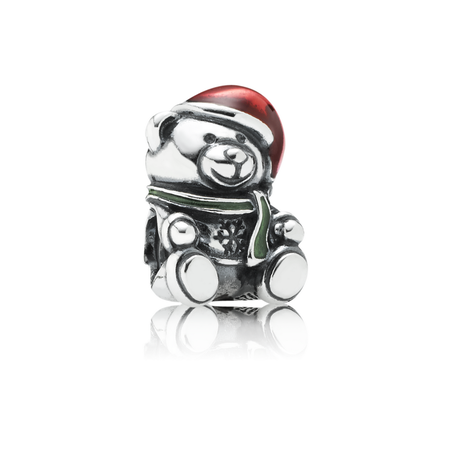 Christmas Bear Charm, Red & Green Enamel