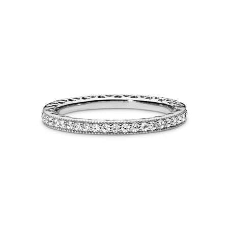 Hearts of PANDORA Ring, Clear CZ