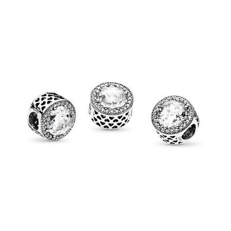 Radiant Hearts Charm, Clear CZ, Sterling silver, Cubic Zirconia - PANDORA - #791725CZ
