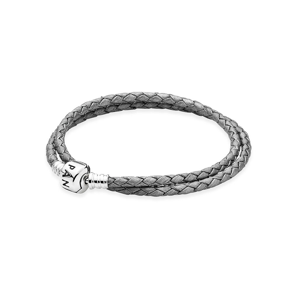 anklet leather double grey braided charm jewelry us pandora bracelet silver d en