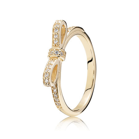 Sparkling Bow Ring, Clear CZ & 14K Gold