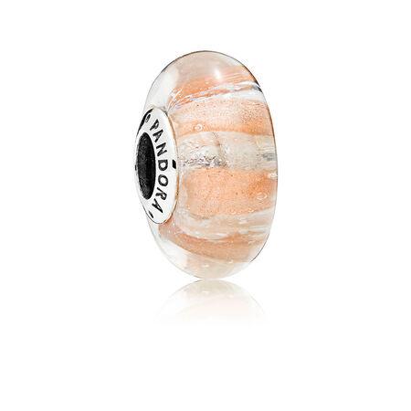 Shimmering Stripe Murano Glass Charm
