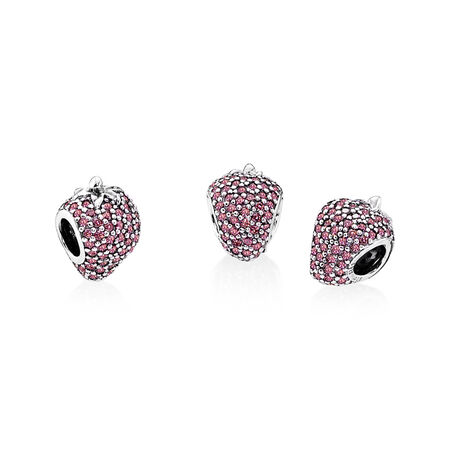 Pavé Strawberry Charm, Red CZ, Sterling silver, Red, Cubic Zirconia - PANDORA - #791899CZR
