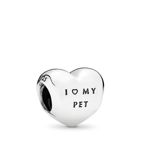 I Love My Pet Charm, Clear CZ