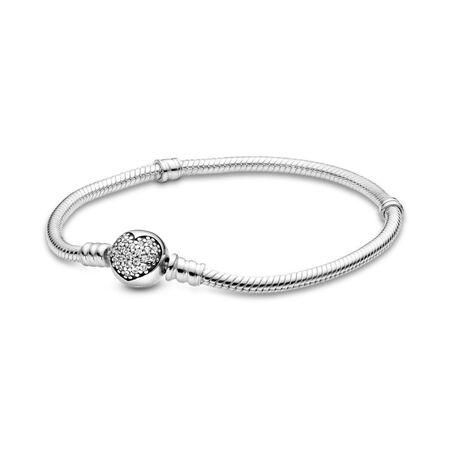 Sparkling Heart Bracelet, Clear CZ