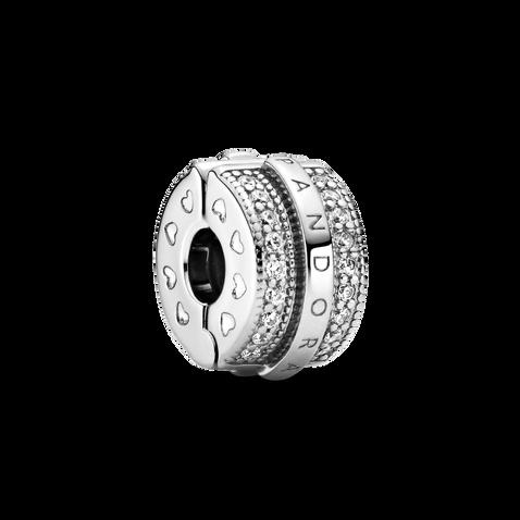 Sparkling Pavé Lines & Logo Clip Charm