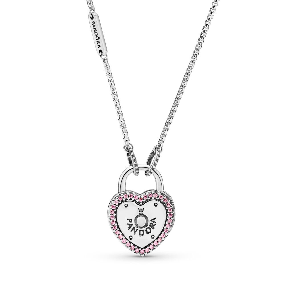 17479748d Lock Your Promise Necklace, Fancy Fuchsia Pink CZ, Sterling silver, Pink,  Cubic
