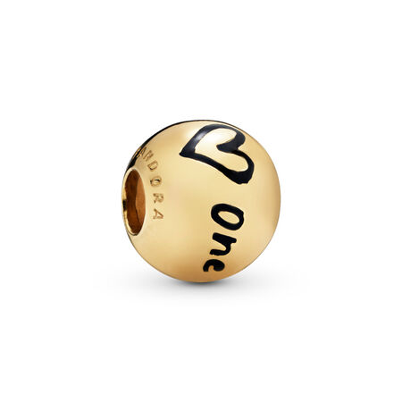 True Uniqueness Charm, 18ct Gold Plated, Enamel, Black - PANDORA - #767775EN16