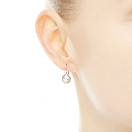 Luminous Droplets Drop Earrings, White Crystal Pearl