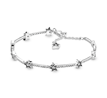 Star sterling silver bracelet with clear cubic zirconia
