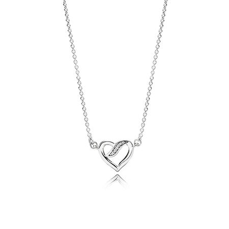 Necklaces for her shop the collection pandora jewelry us ribbons of love necklace clear cz aloadofball Image collections