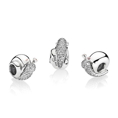 Sparkling Snail Charm, Clear & Orchid CZ