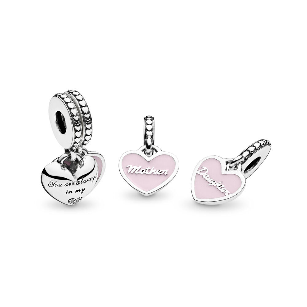 0d634b7a9 Mother & Daughter Hearts Dangle Charm, Sterling silver, Enamel, Pink, Cubic  Zirconia