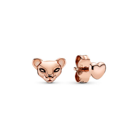 Lion Princess & Heart Stud Earrings, Pandora Rose™