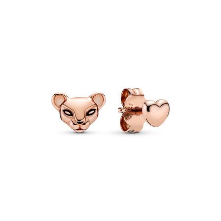 Lion Princess & Heart Stud Earrings, Pandora Rose™, PANDORA Rose, Enamel, Black - PANDORA - #288022EN16