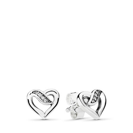 Dreams of Love Stud Earrings, Clear CZ