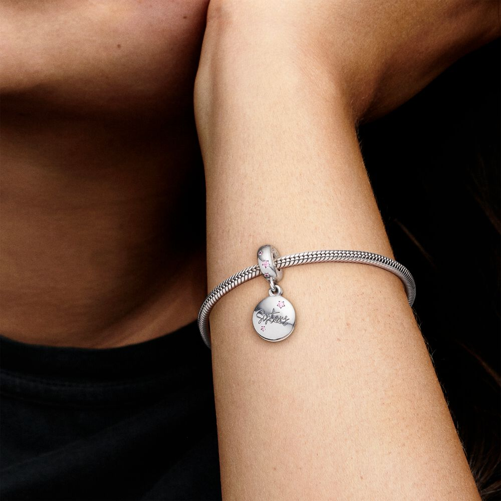 Forever Sisters Dangle Charm   Pandora US   Sterling silver ...
