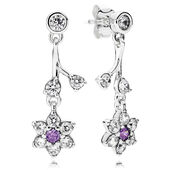 Forget Me Not Drop Earrings, Purple & Clear CZ