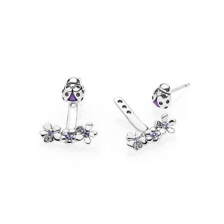 Ladybug Meadow Jacket Earrings, Purple Enamel & CZ, Sterling silver, Enamel, Purple, Mixed stones - PANDORA - #297123NLC